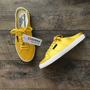 Superga x Man Repeller Mustard Satin Mules Shoes